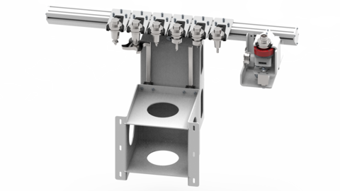 The 6-position Pick-up changer is integrated in the machine base.