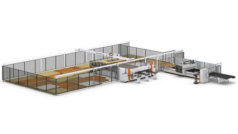 Storage solution STORE-MASTER with pressure beam saw and nesting